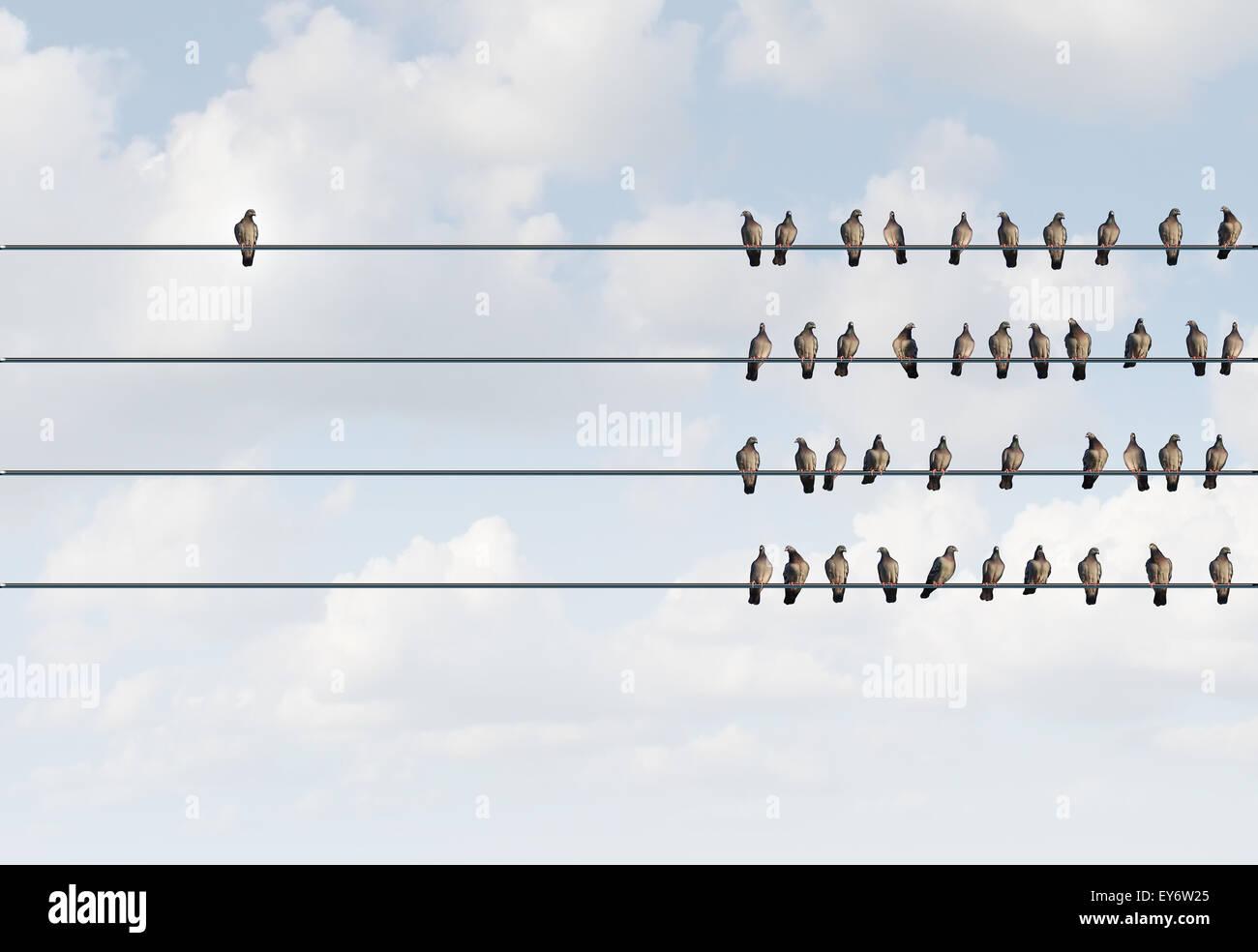 Symbole d'individualité et penseur indépendant et nouveau concept concept de leadership ou de l'individualité Photo Stock
