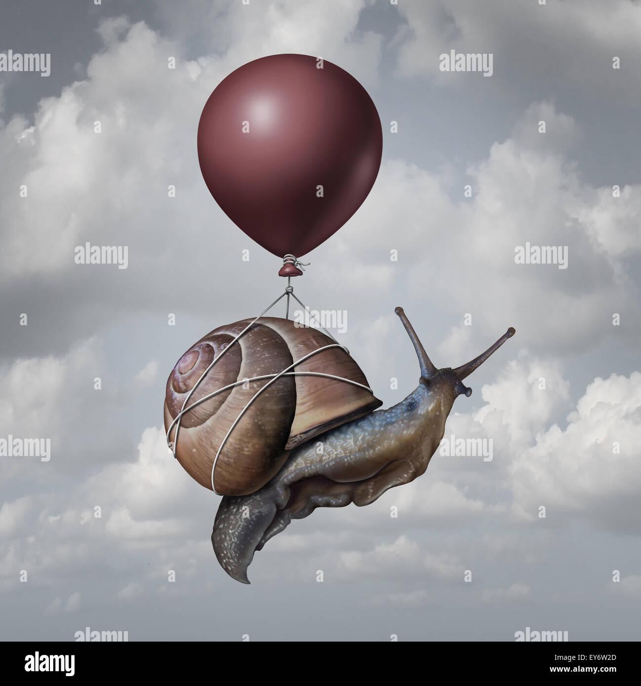 Notion de réussite et d'avantages ou d'idée du jeu comme symbole un ballon soulevant un escargot Photo Stock
