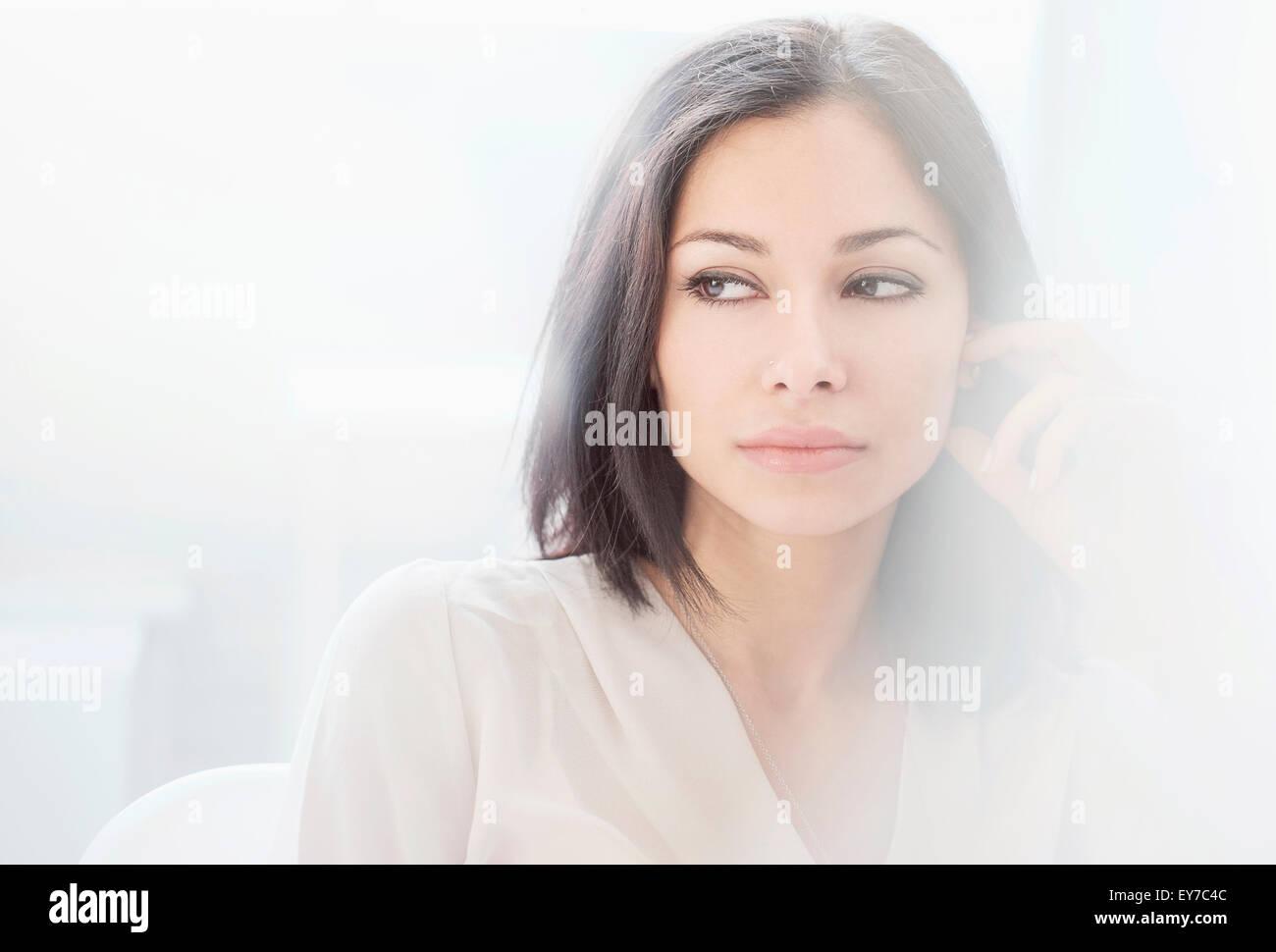 Portrait de femme brune Photo Stock
