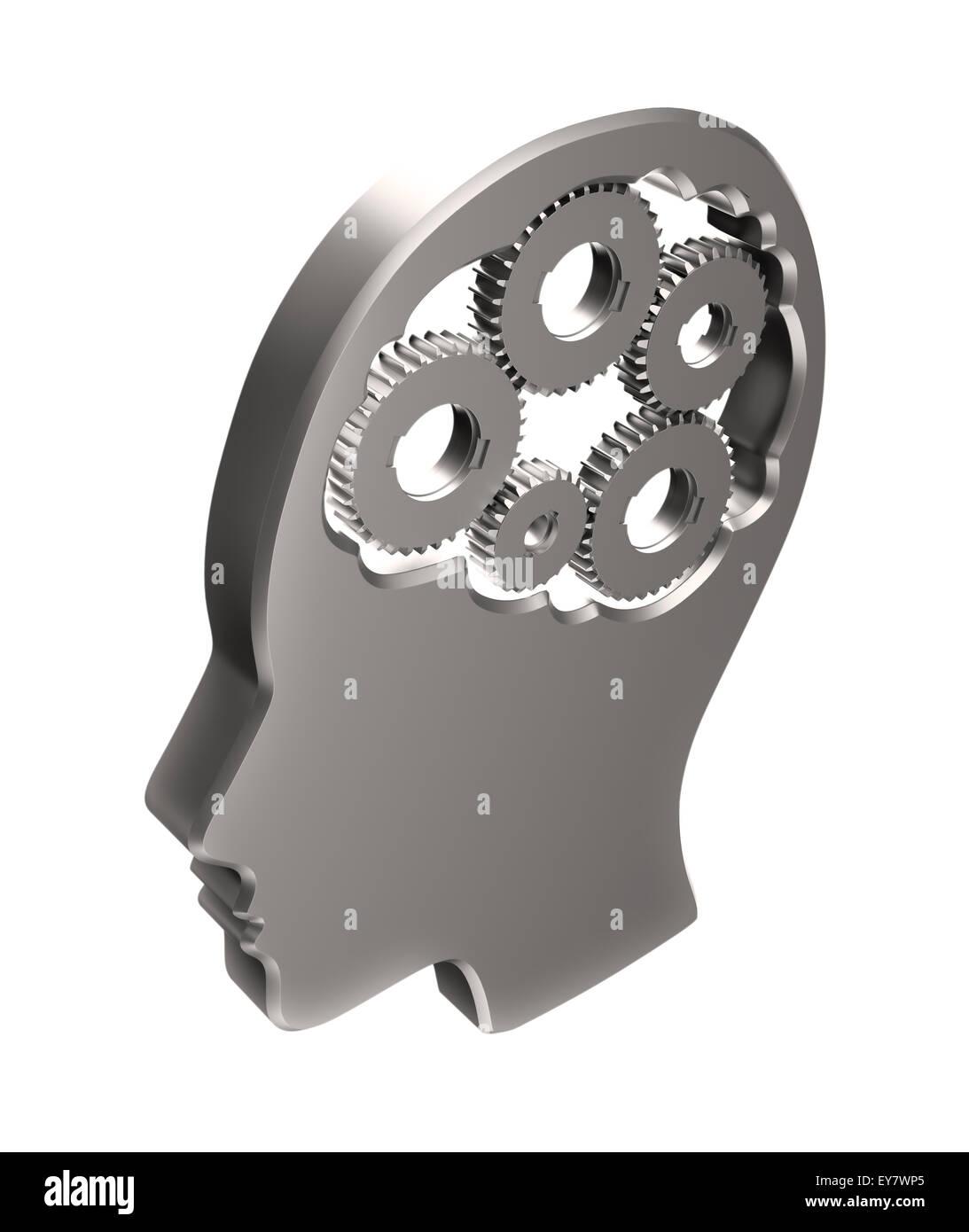 Cogs à l'intérieur d'une tête humaine les grandes lignes - la mémoire et les fonctions Photo Stock