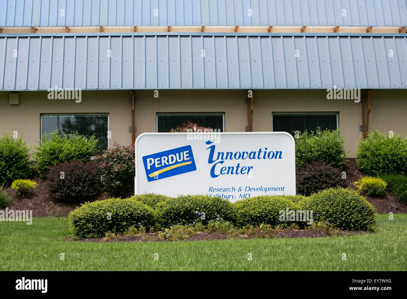 Un logo affiche à l'extérieur du centre de l'innovation Perdue Farms à Salisbury, Maryland Photo Stock