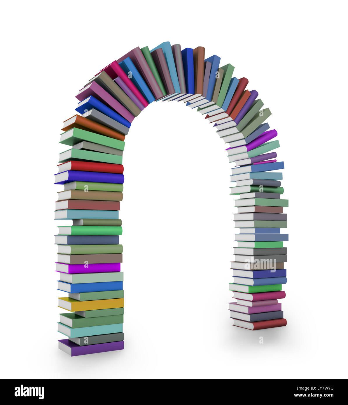 Un arc formé par une pile de livres colorés Photo Stock