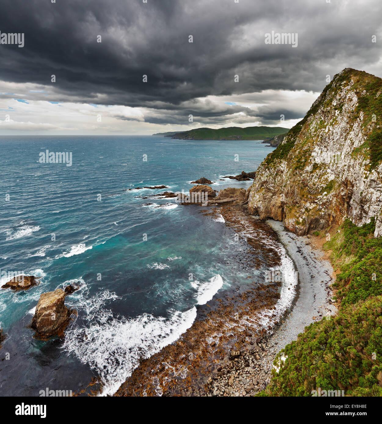 Vue côtière, Côte Catlins, Nouvelle-Zélande Photo Stock