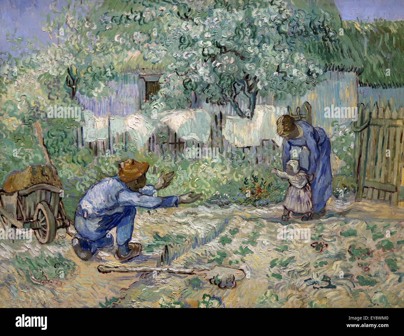 Vincent van Gogh (1853-1890). Peintre hollandais. Premiers pas, après le Millet, 1890. Huile sur toile. Metropolitan Photo Stock