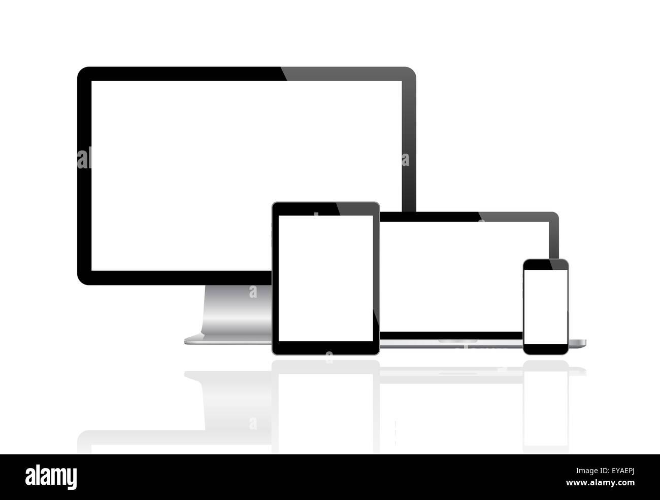 Moniteur moderne, ordinateur, ordinateur portable, téléphone, tablette Photo Stock