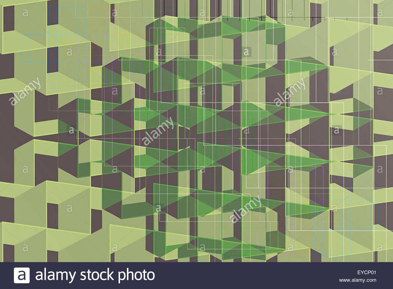 Plein cadre abstrait géométrique tridimensionnel modèle horizons Photo Stock