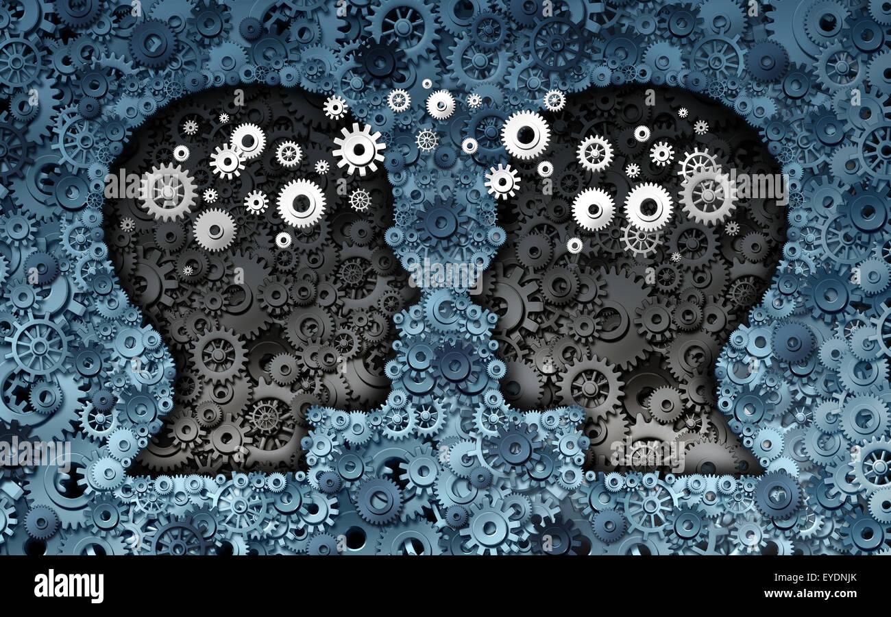 Concept de développement en neurosciences formation en tant que groupe de roue dentée et d'engrenages Photo Stock