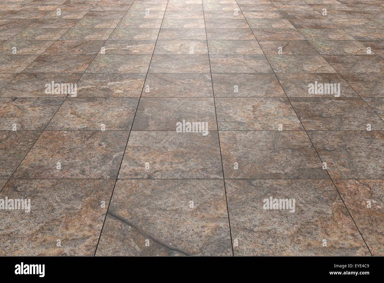 Le rendu 3D d'un plancher de carreaux rustiques Photo Stock