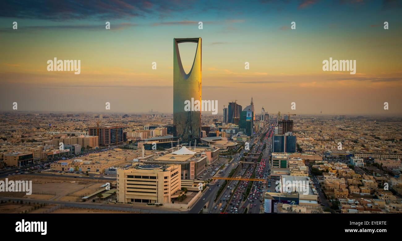Coucher de soleil sur Riyad, Riyadh, Arabie Saoudite Photo Stock