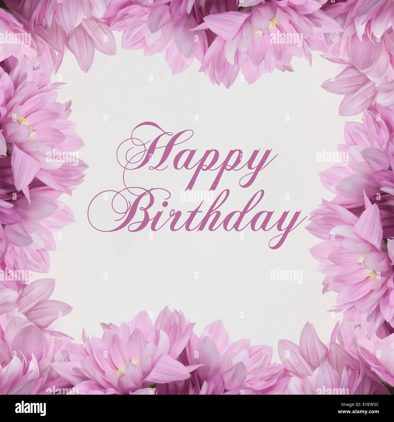 Joyeux Anniversaire Carte Avec Decoration Florale Photo Stock Alamy