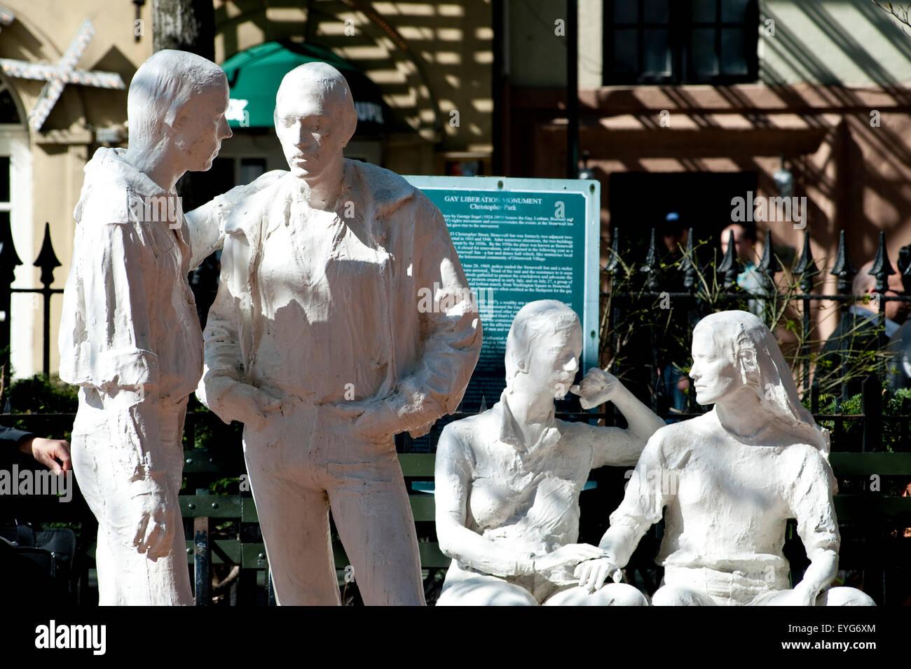 Monument de la libération Gay Stonewall en parc. West Village, à Manhattan, New York, USA Photo Stock