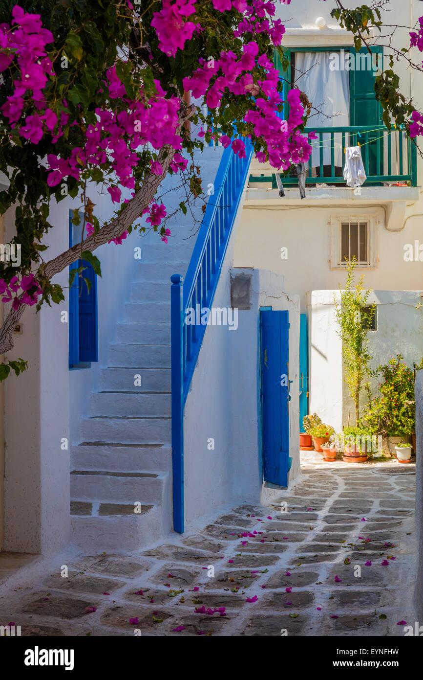 Rues de la ville de Mykonos, sur l'île grecque de Mykonos. Photo Stock