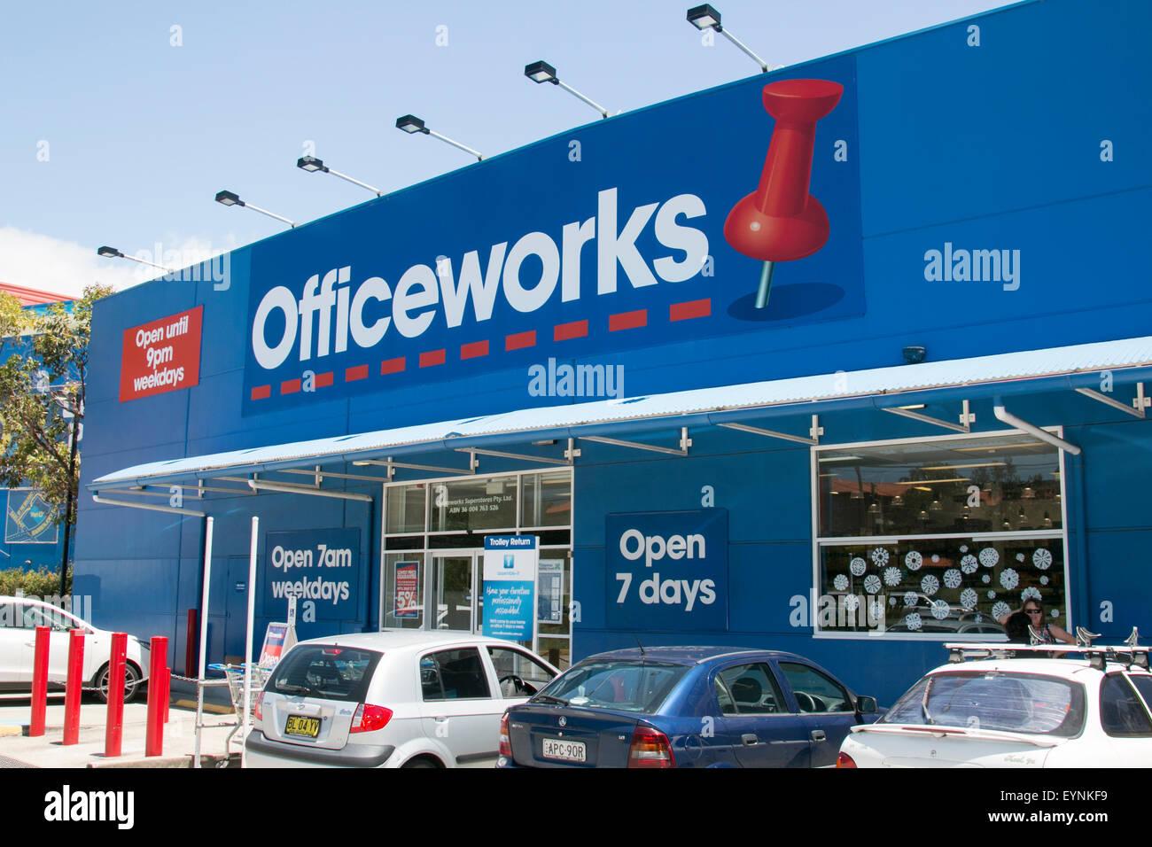 Officeworks papeterie extérieur, Nouvelle Galles du Sud, Australie Photo Stock