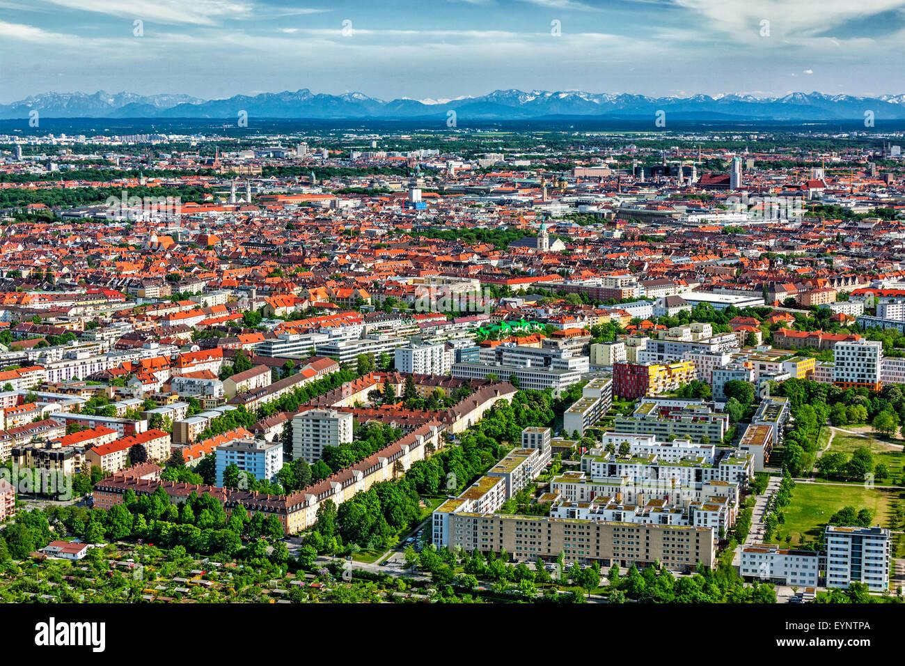 Vue aérienne de Munich. Munich, Bavière, Allemagne Photo Stock