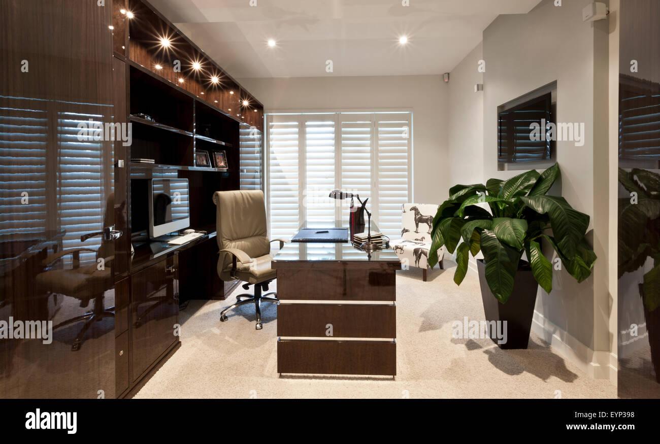 Bureau de travail luxueux dans une maison conçu avec coloration