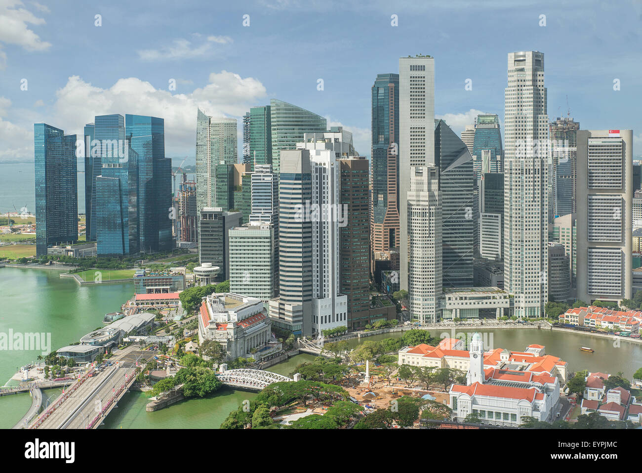 Skyline de Singapour. Le quartier des affaires de Singapour. Photo Stock