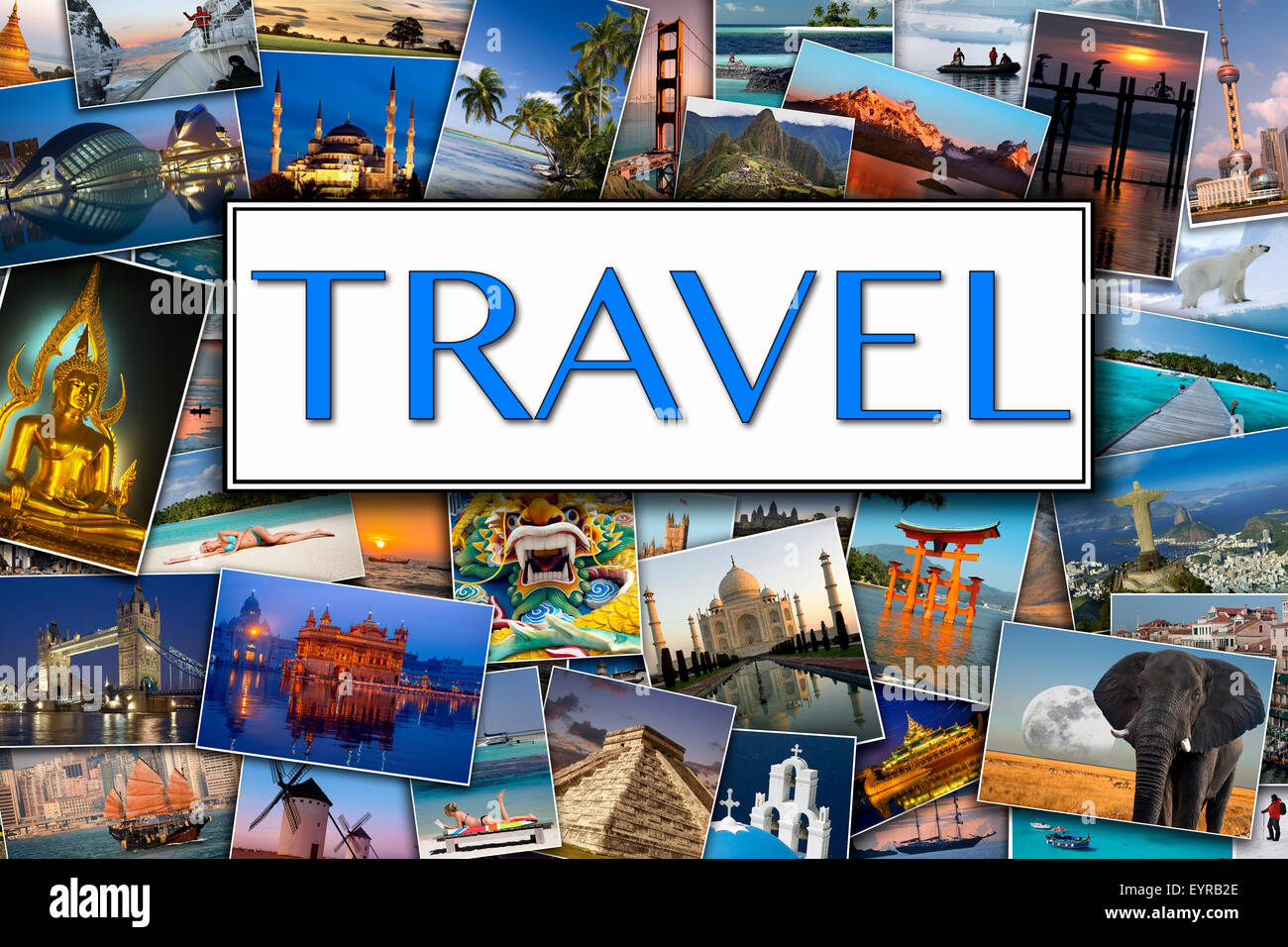 En-tête de page de voyage - Photos de voyage Destinations internationales Photo Stock
