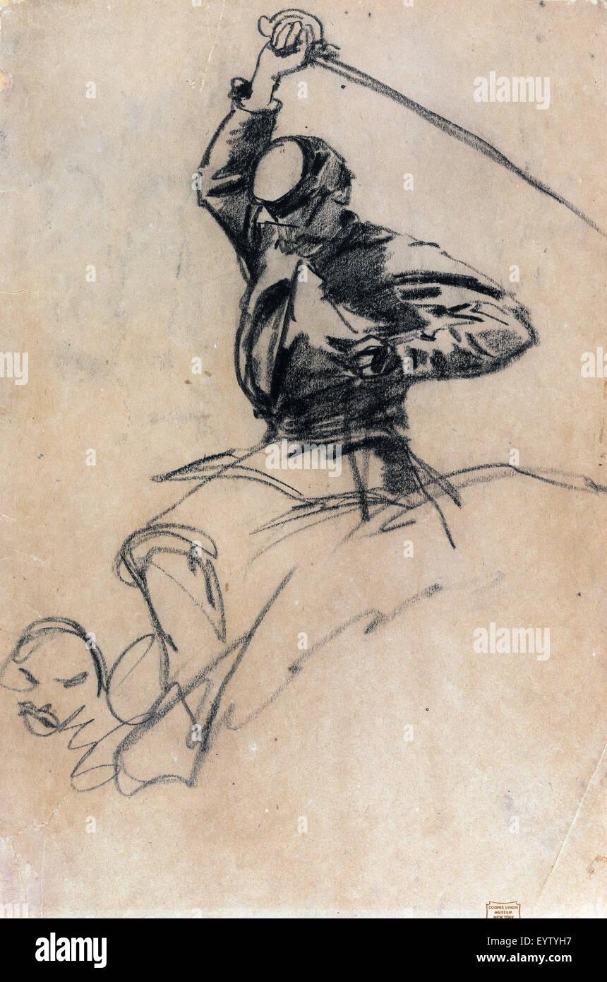 Winslow Homer, soldat de cavalerie à l'épée à cheval 1863 Dessin. Cooper-Hewitt Smithsonian, Photo Stock
