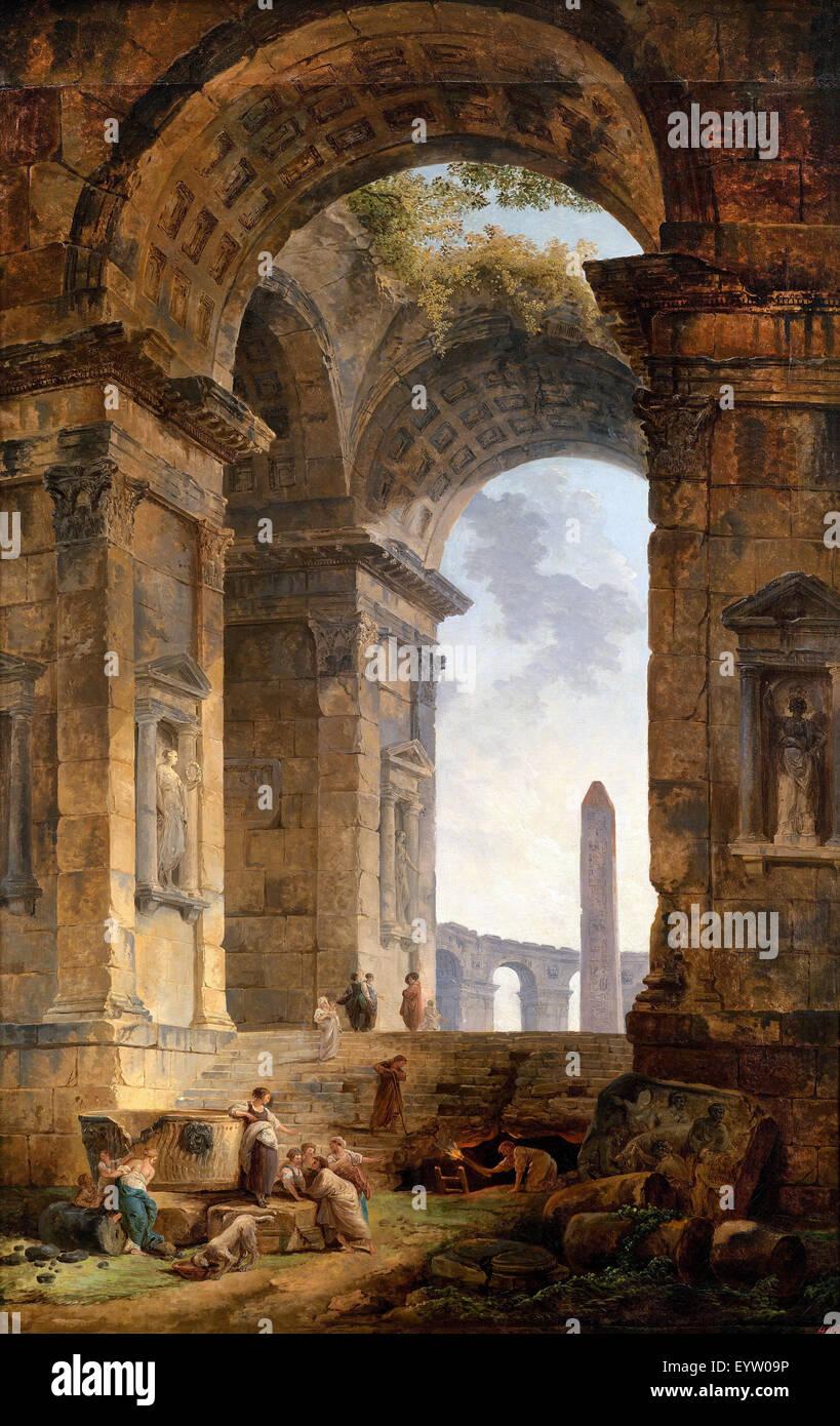 Hubert Robert, Ruines avec un obélisque dans la Distance 1775 Huile sur toile. Musée Pouchkine, Moscou, Photo Stock