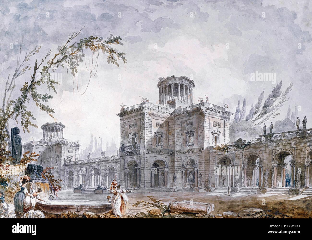 Hubert Robert, Architectural Fantasy 1760 craie noire, Plume, encre de chine, pinceau, aquarelle. Albertina, Vienne, Photo Stock