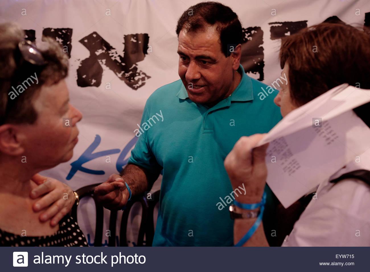Jérusalem, Israël. 06Th Aug 2015. Ezzeldeen Abu al-Aish, un gynécologue palestinien de Gaza, qui Photo Stock
