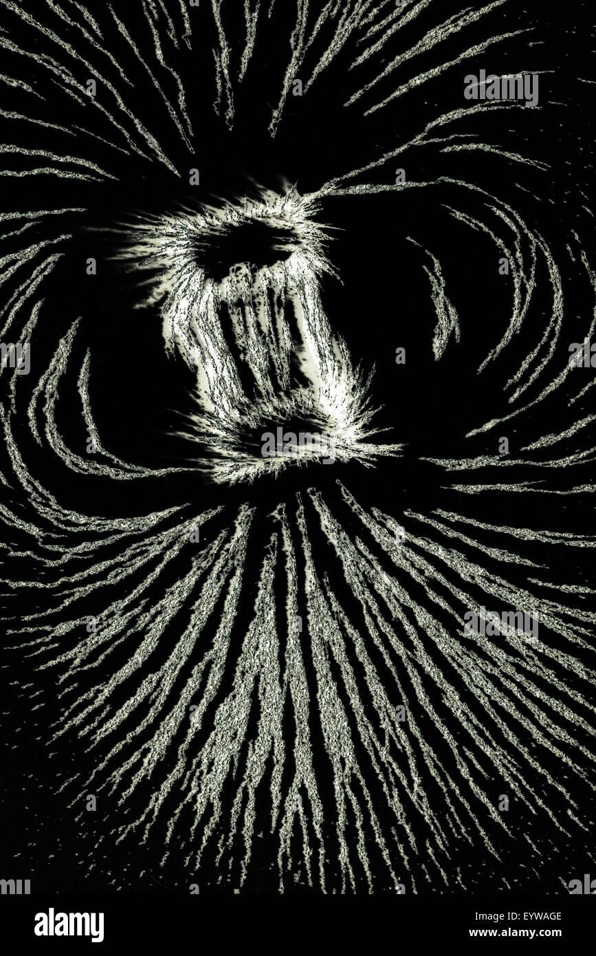 L'attraction et de la répulsion des particules métalliques fer aligner le long des lignes de champs Photo Stock