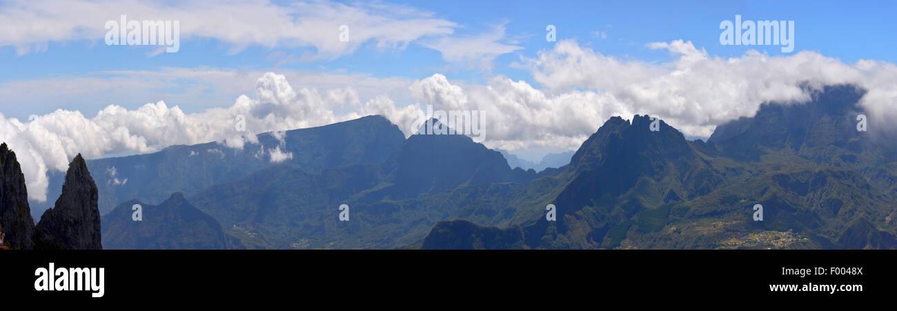 Paysages de montagne de l'île de la réunion, Reunion Photo Stock