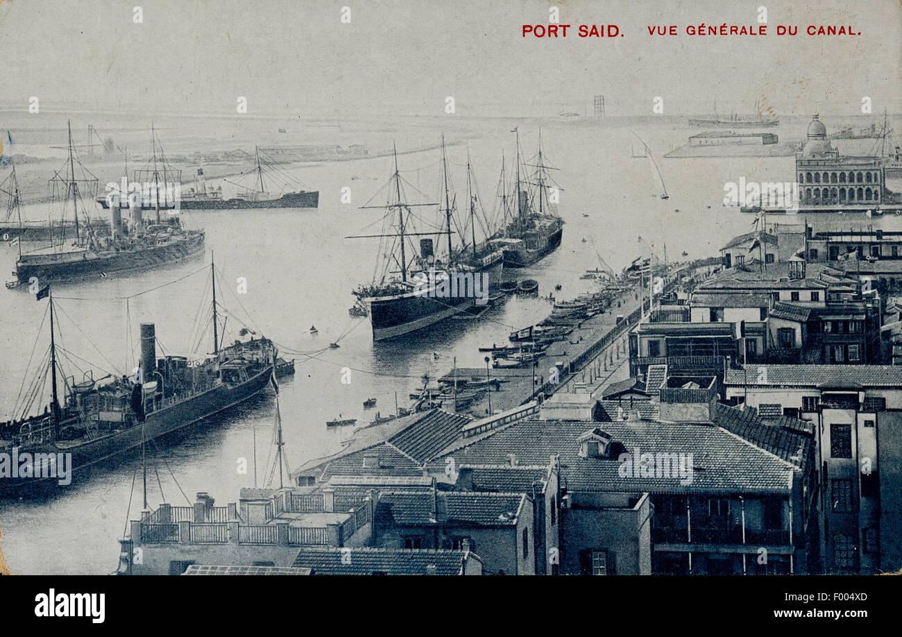 Port Said Egypte Années 1900 Une Carte Postale De La