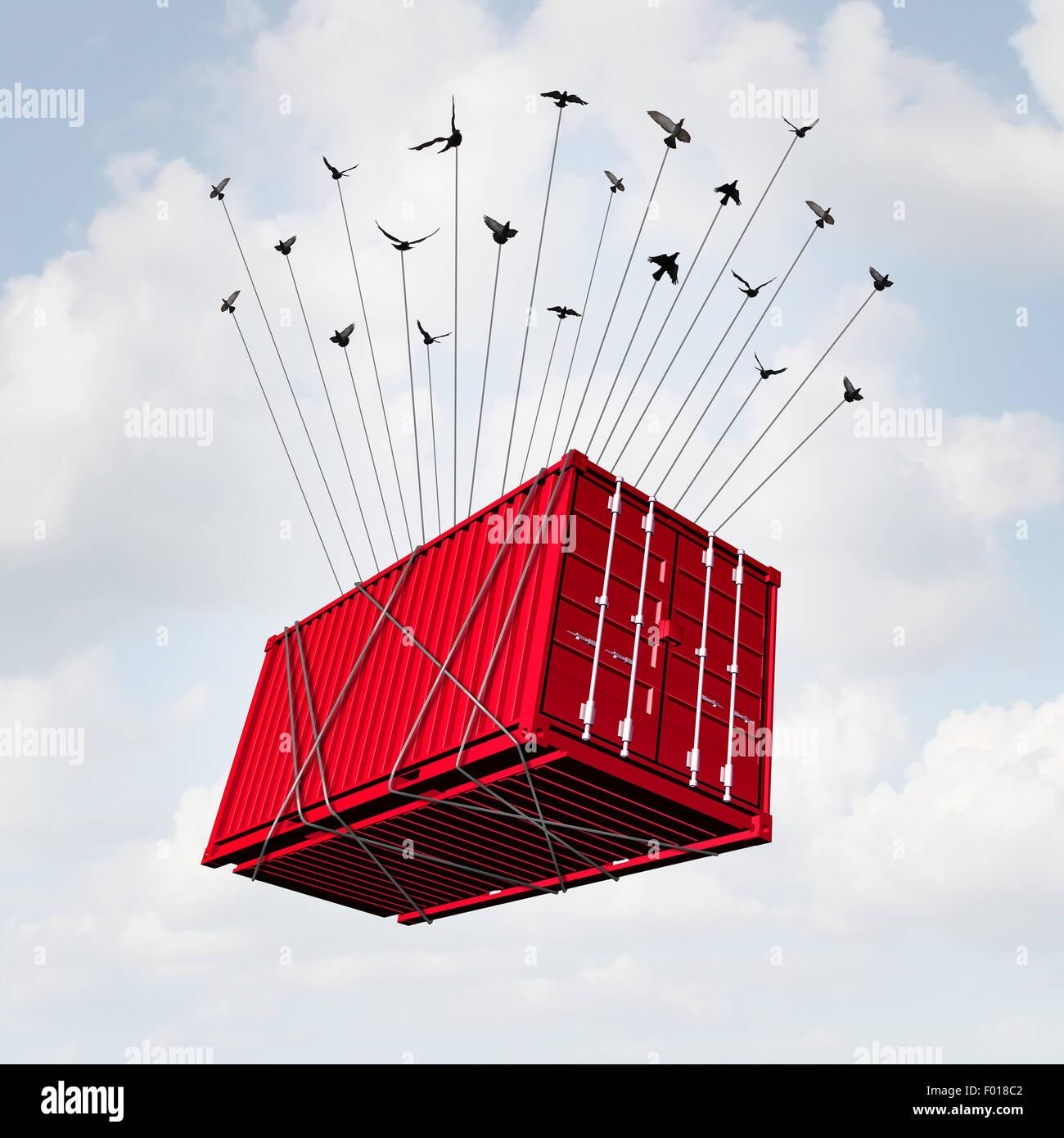 Air cargo concept comme un conteneur de transport de métal étant levé avec un groupe d'oiseaux Photo Stock