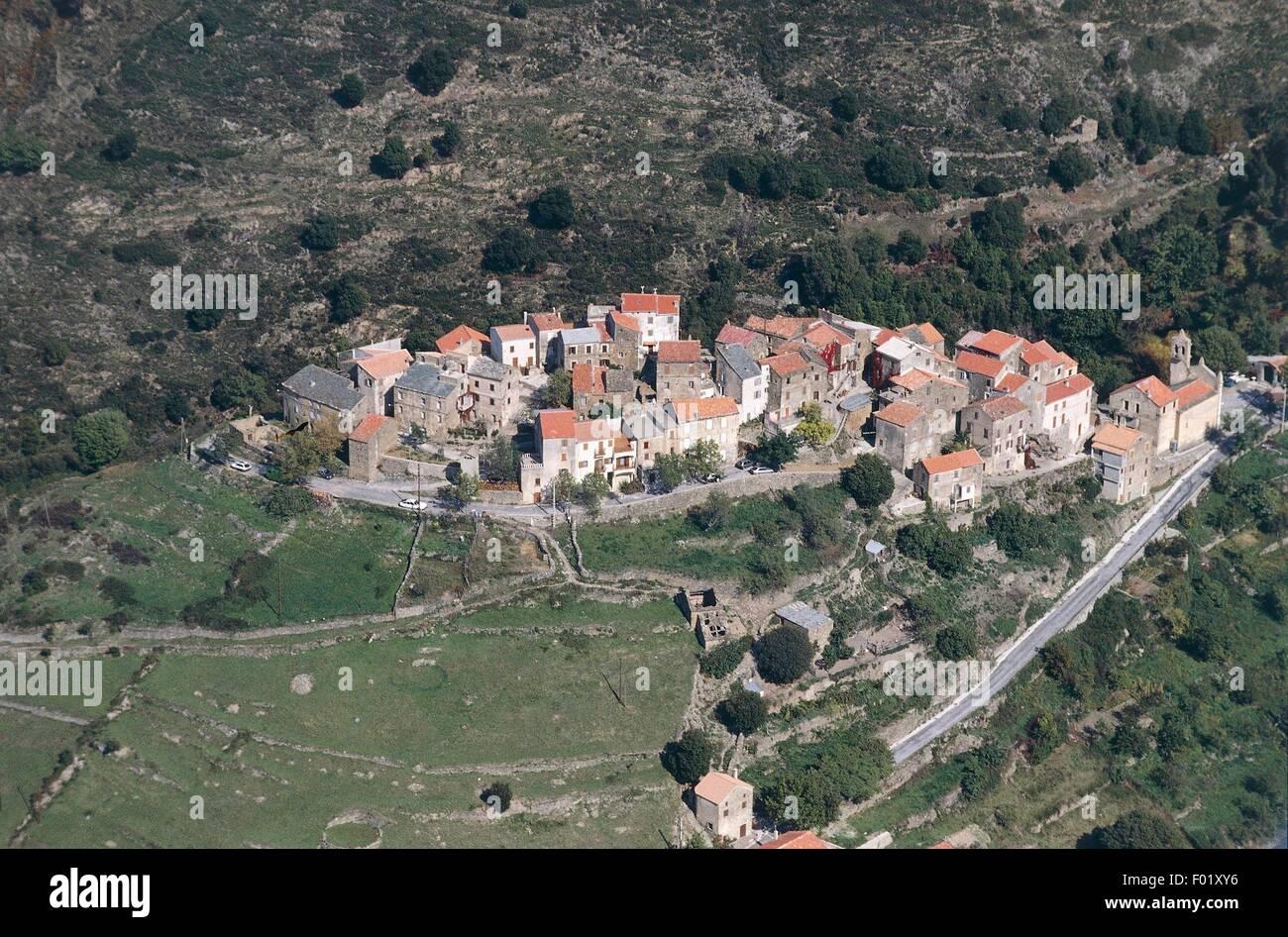 Vue aérienne de Omessa - Corse, France Banque D'Images