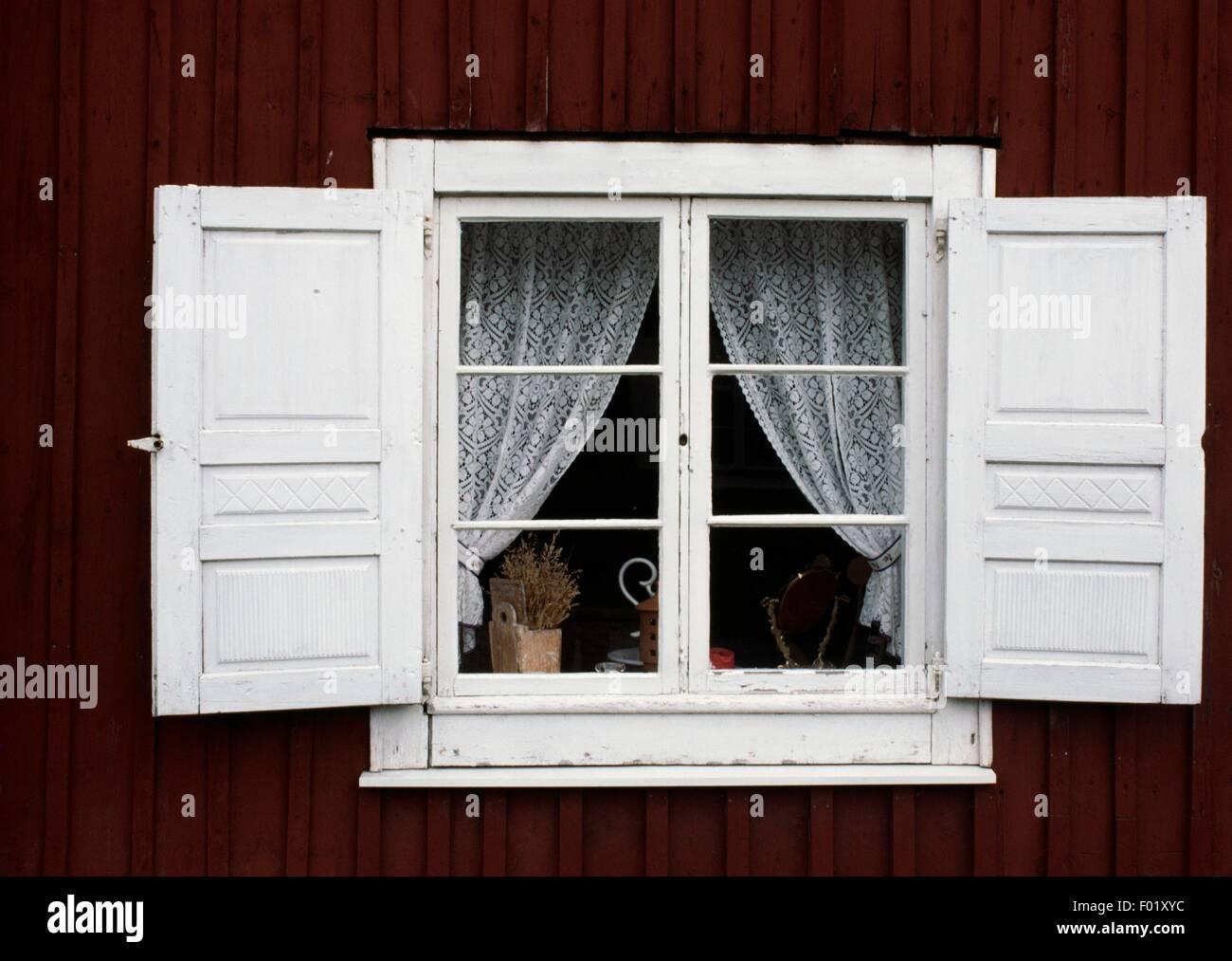 La fenêtre de la chambre à Lulea, en Suède. Banque D'Images