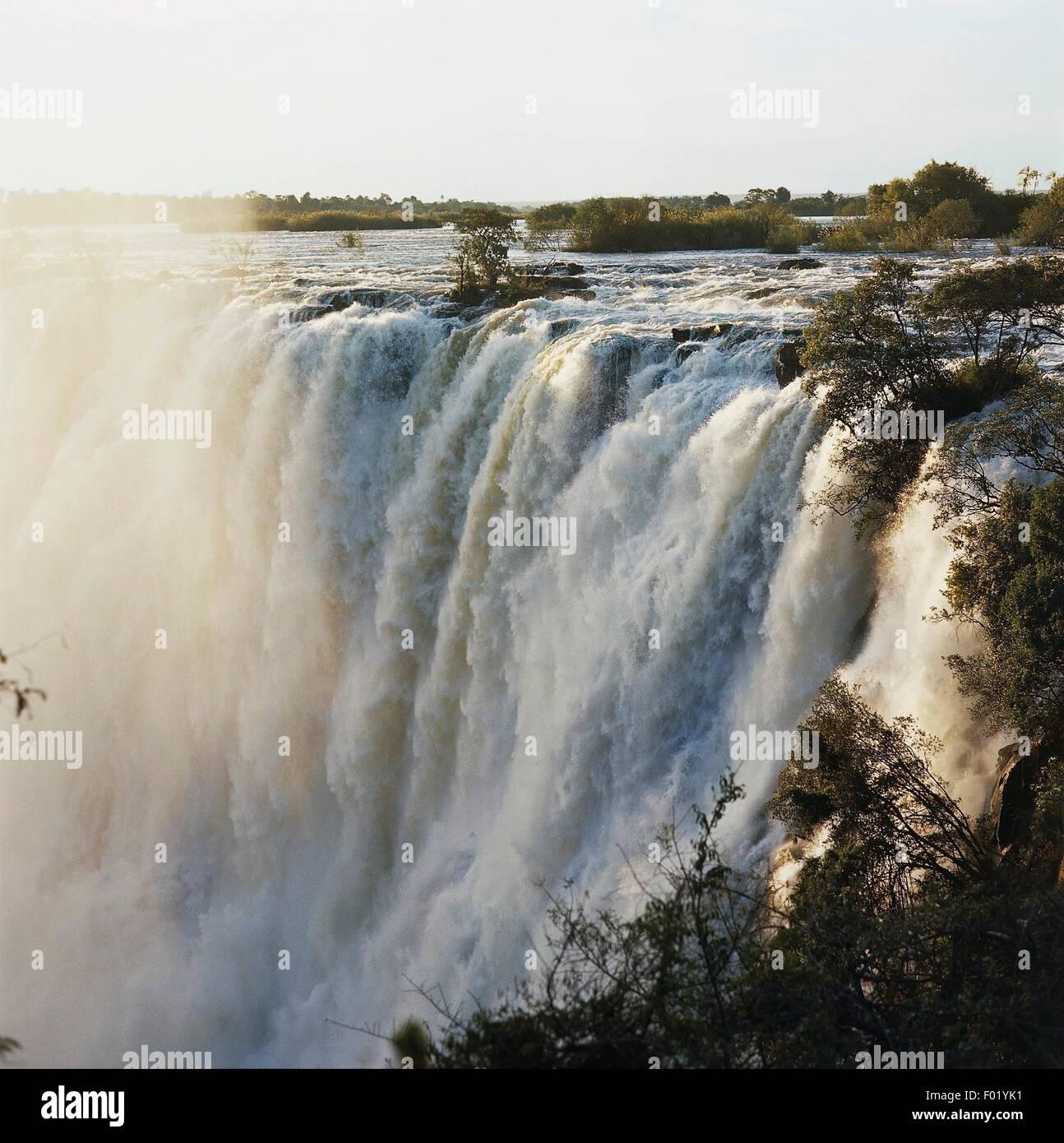 Les chutes Victoria (Liste du patrimoine mondial de l'UNESCO, 1989), Livingstone, Zambie. Photo Stock