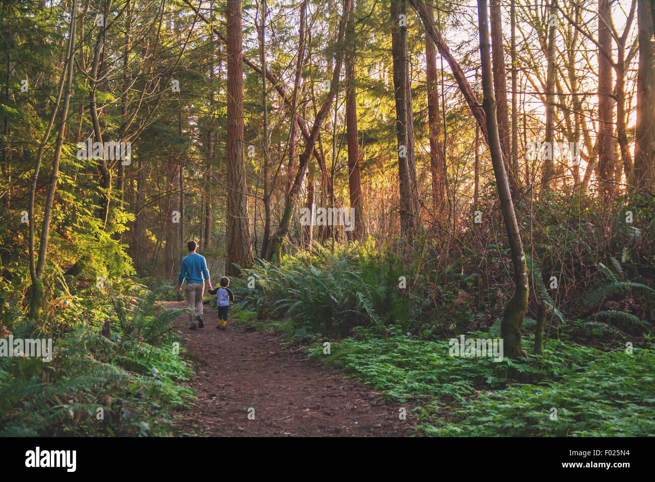 Père et fils de marcher dans les bois Photo Stock