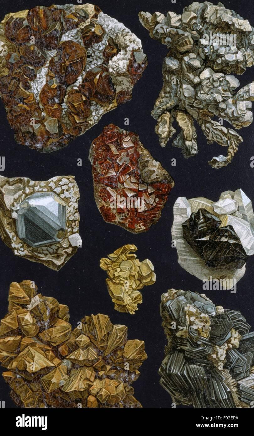 Table avec des minéraux cristallisés, 19e siècle, le dessin. Photo Stock
