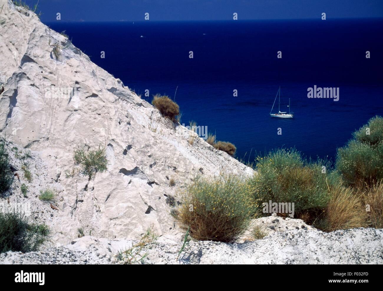 La montagne de pierre ponce, Porticello, Lipari, Les Îles (Liste du patrimoine mondial de l'UNESCO, 2000), Sicile, Banque D'Images