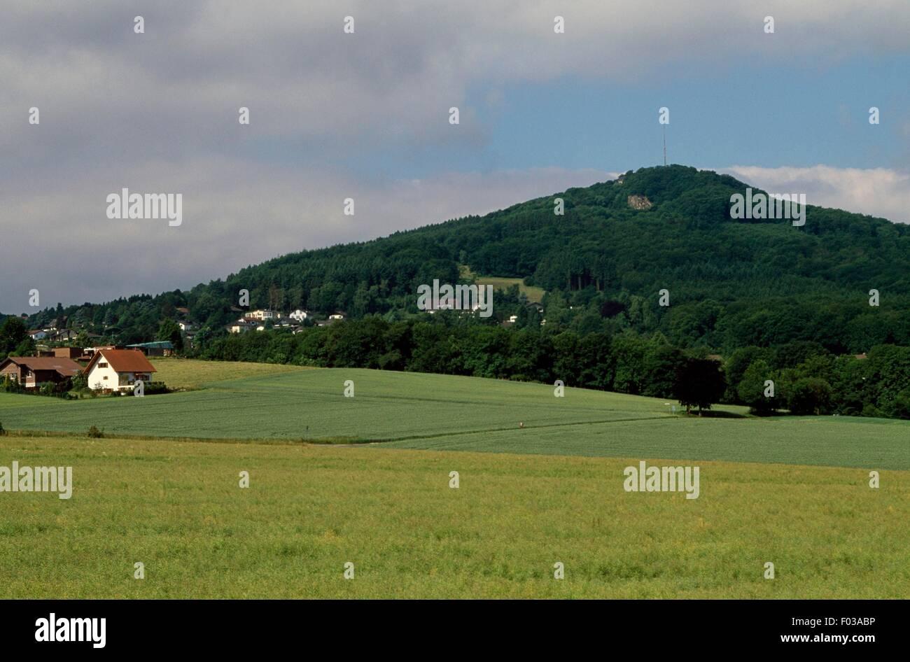 Paysage dans le Parc Naturel de Siebengebirge (Naturpark Siebengebirge), Rhénanie du Nord-Westphalie, Allemagne. Banque D'Images