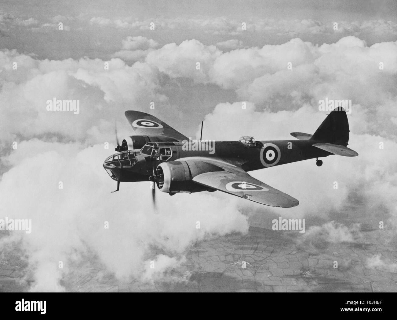Bristol Blenheim' Bomber. 'Bristol' Type 142M. Deux 'Bristol' 840 h.p. Les moteurs Mercury. Le premier tout-métal monoplan bimoteur moderne pour la R.A.F. pour transporter l'ensemble de la charge militaire au sein de la structure. Grumes de service avec toutes les commandes de la R.A.F. et dans tous les théâtres de guerre. Fait le premier bombardement aérien de la guerre sur Keil, en septembre 1939. Banque D'Images