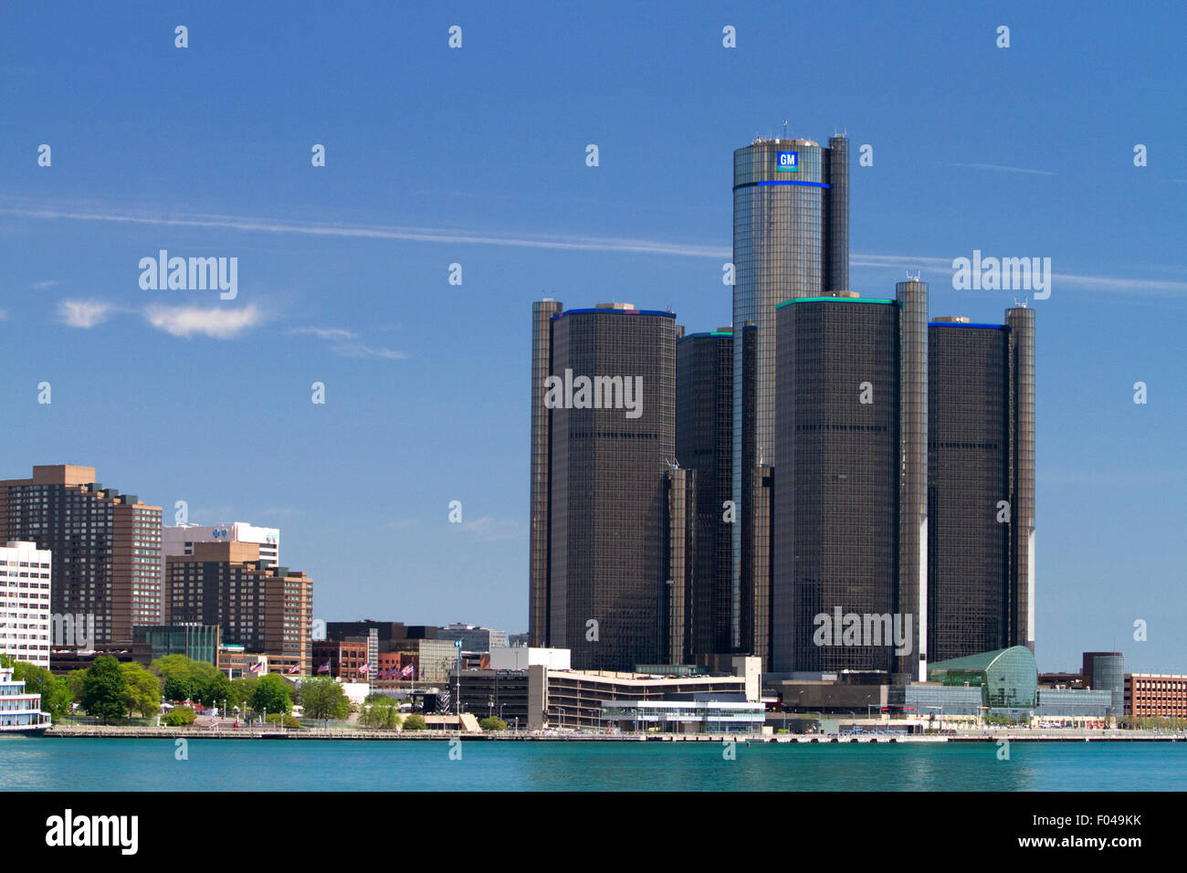 Le GM Renaissance Center sur l'International Riverfront Detroit, Michigan, USA. Photo Stock