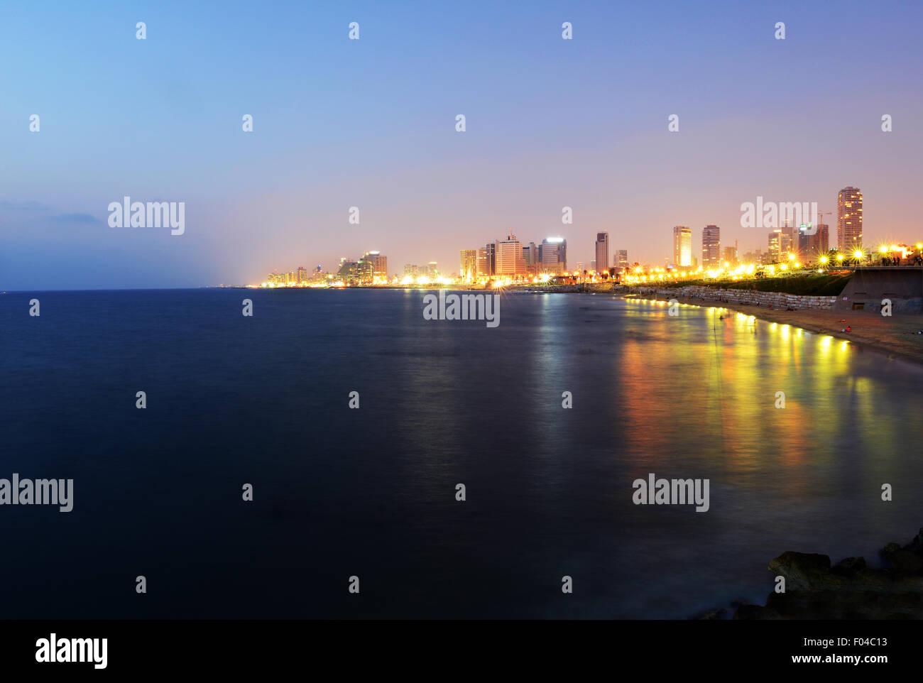 Une vue de Tel-Aviv comme vu de Jaffa. Photo Stock