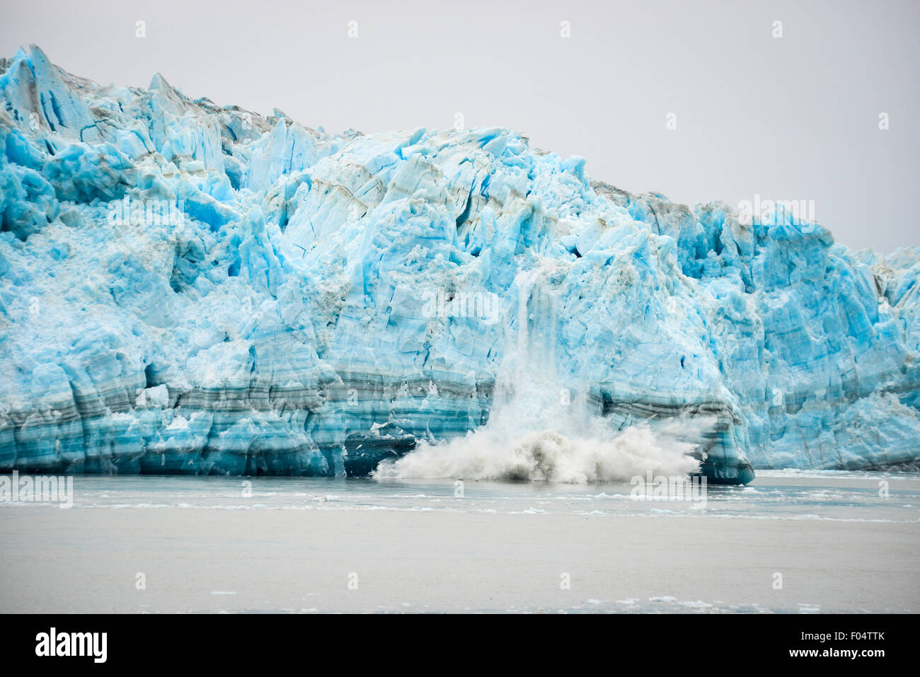 Glacier Hubbard le vêlage - Phénomène naturel Photo Stock