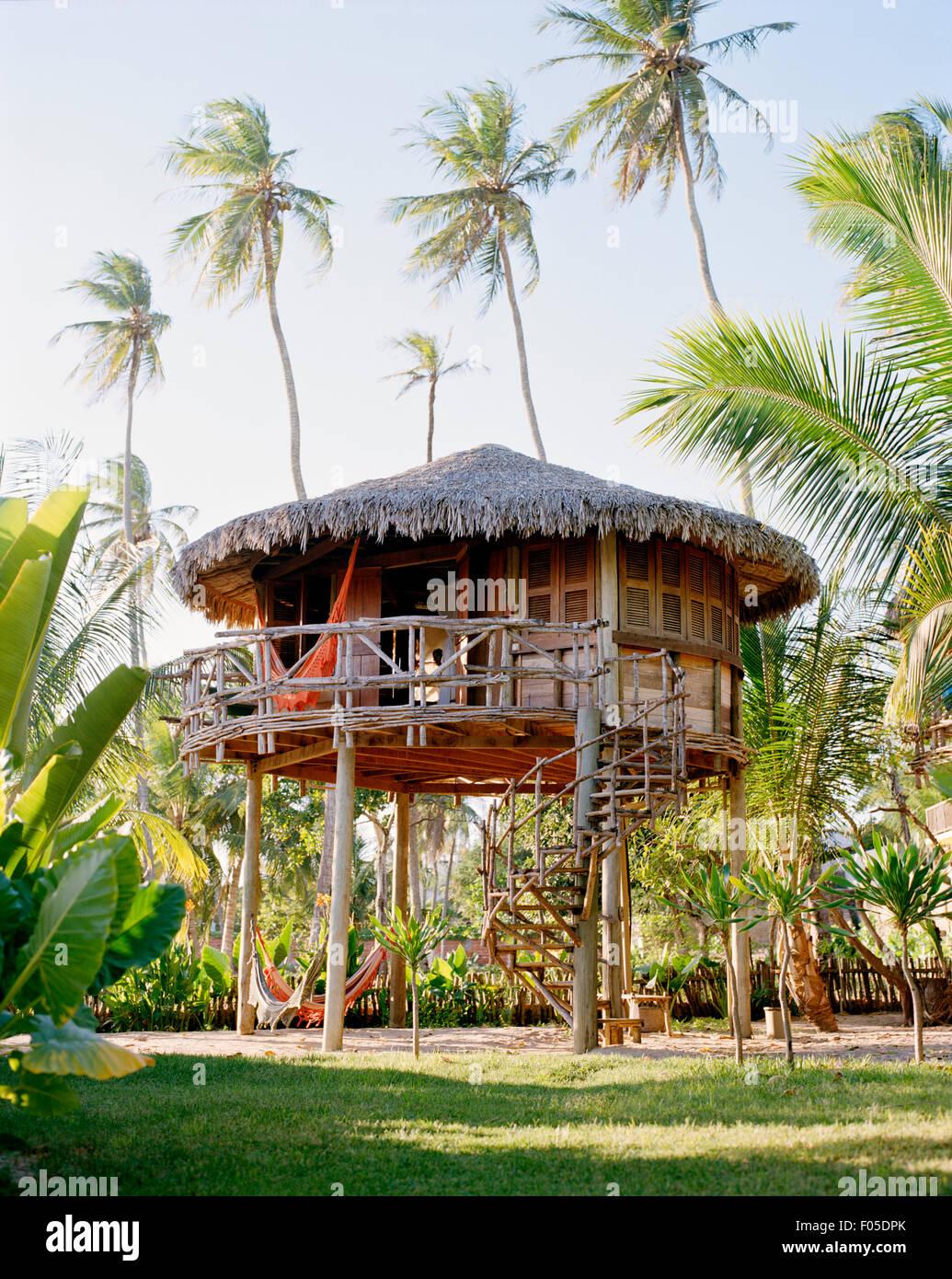 Extérieur de la villa n° 18 à l'hôtel Vila Kalango. Jericoacoara, Ceara, Brésil. L'Amérique Photo Stock