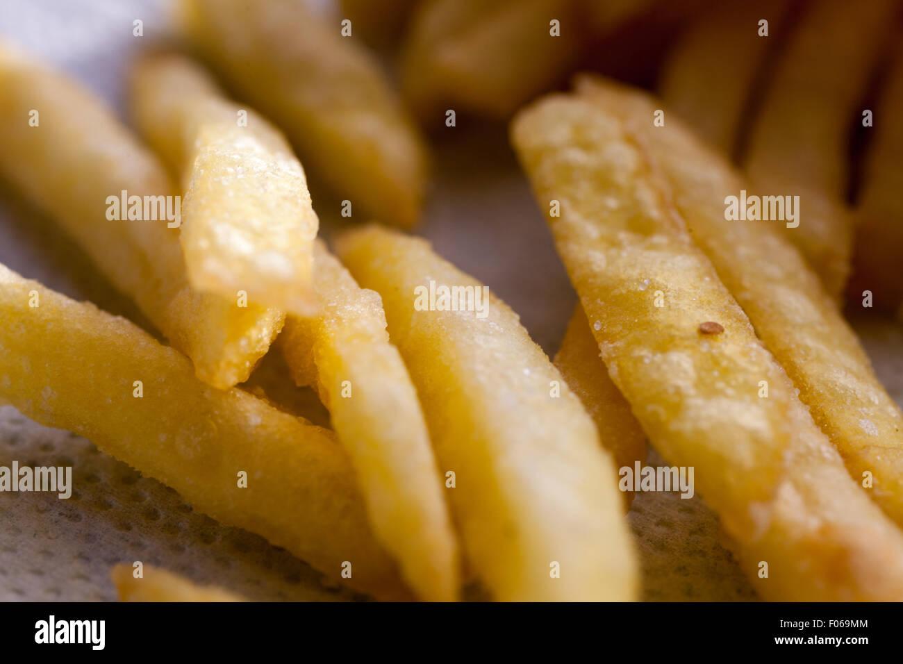 Gros plan des frites Photo Stock