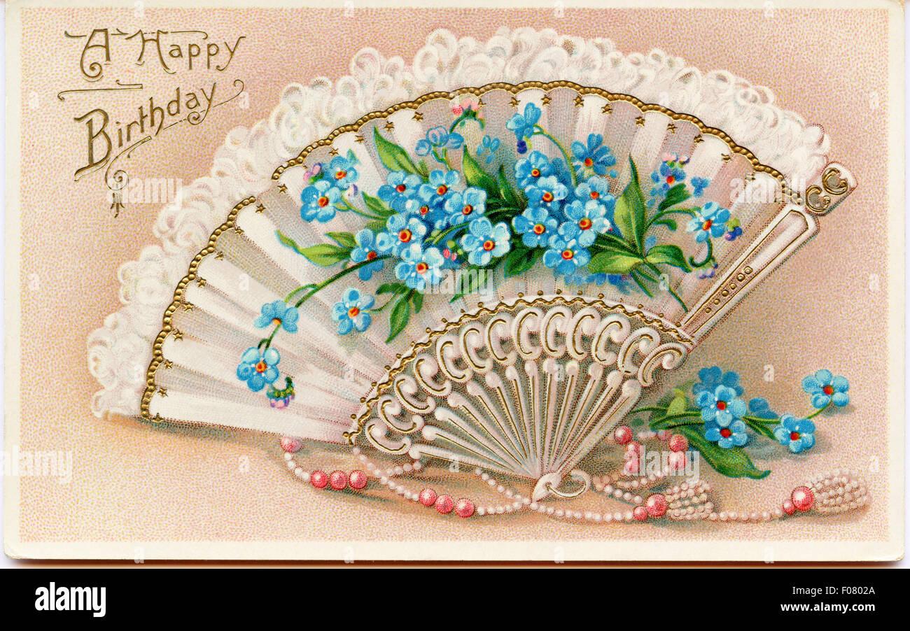carte postale ancienne joyeux anniversaire banque d 39 images photo stock 86227522 alamy. Black Bedroom Furniture Sets. Home Design Ideas