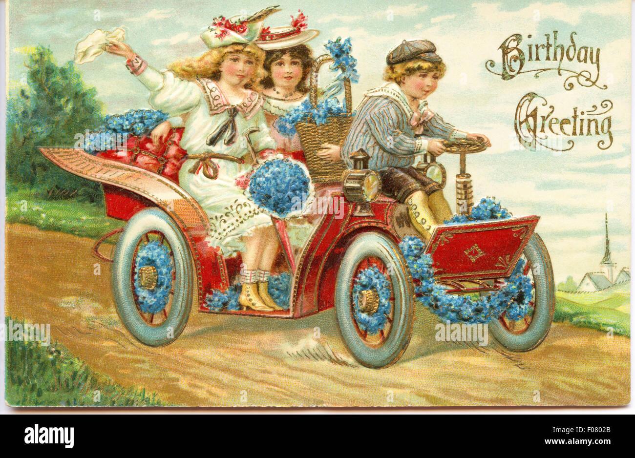 Carte postale ancienne - Joyeux Anniversaire Photo Stock