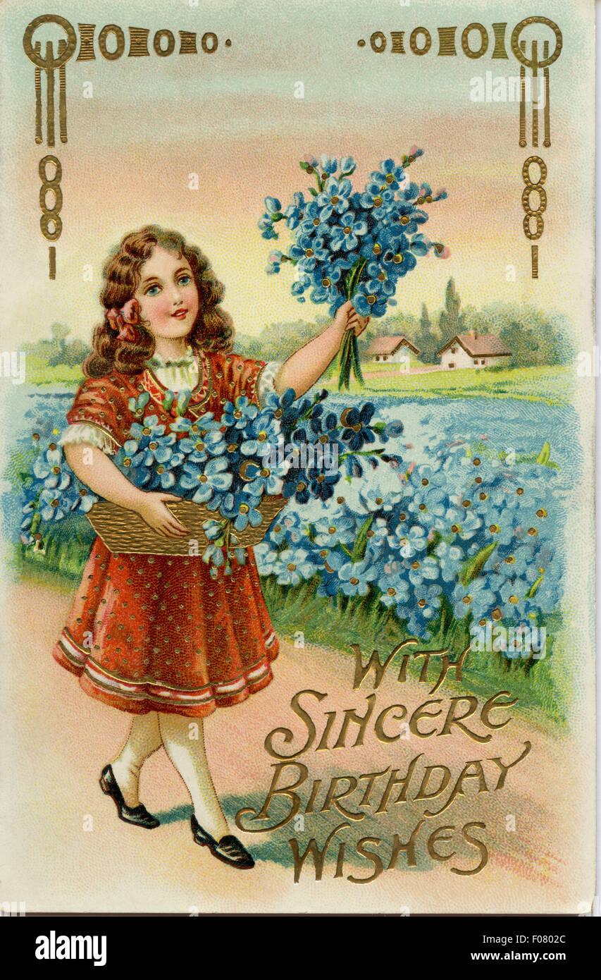 Carte Postale Ancienne Joyeux Anniversaire Photo Stock Alamy