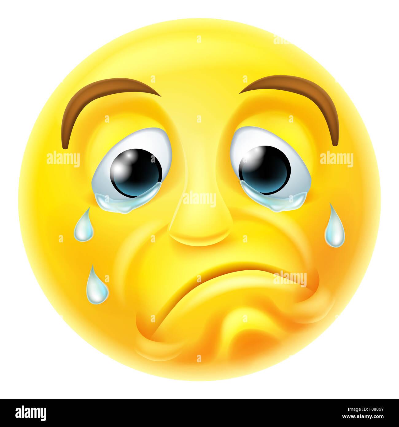 Un Triste A Pleurer De Smiley Emoticon Emoji Caractere Avec Les Larmes Coulant Sur Son Visage Photo Stock Alamy