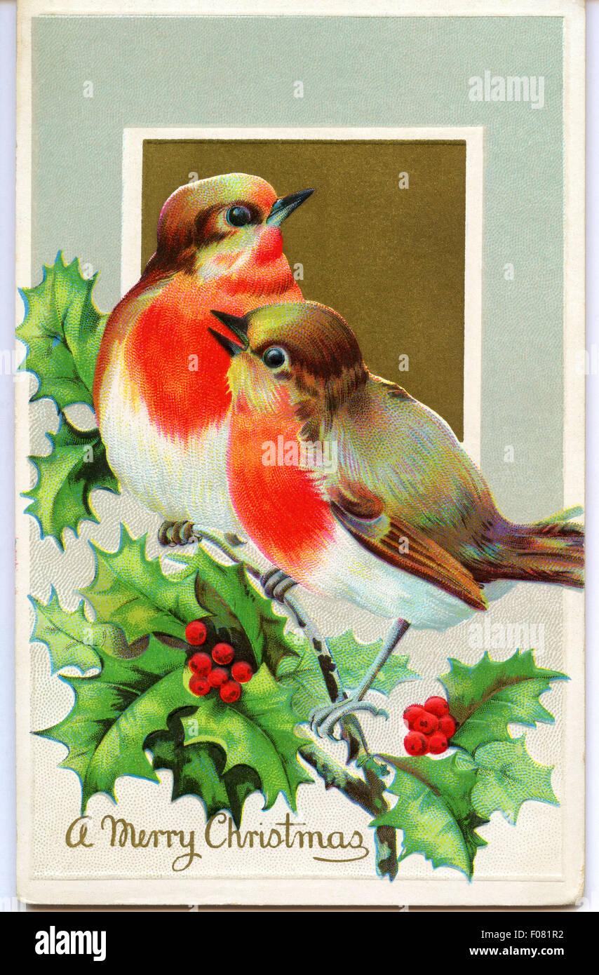 Vintage postcard - Noël Photo Stock