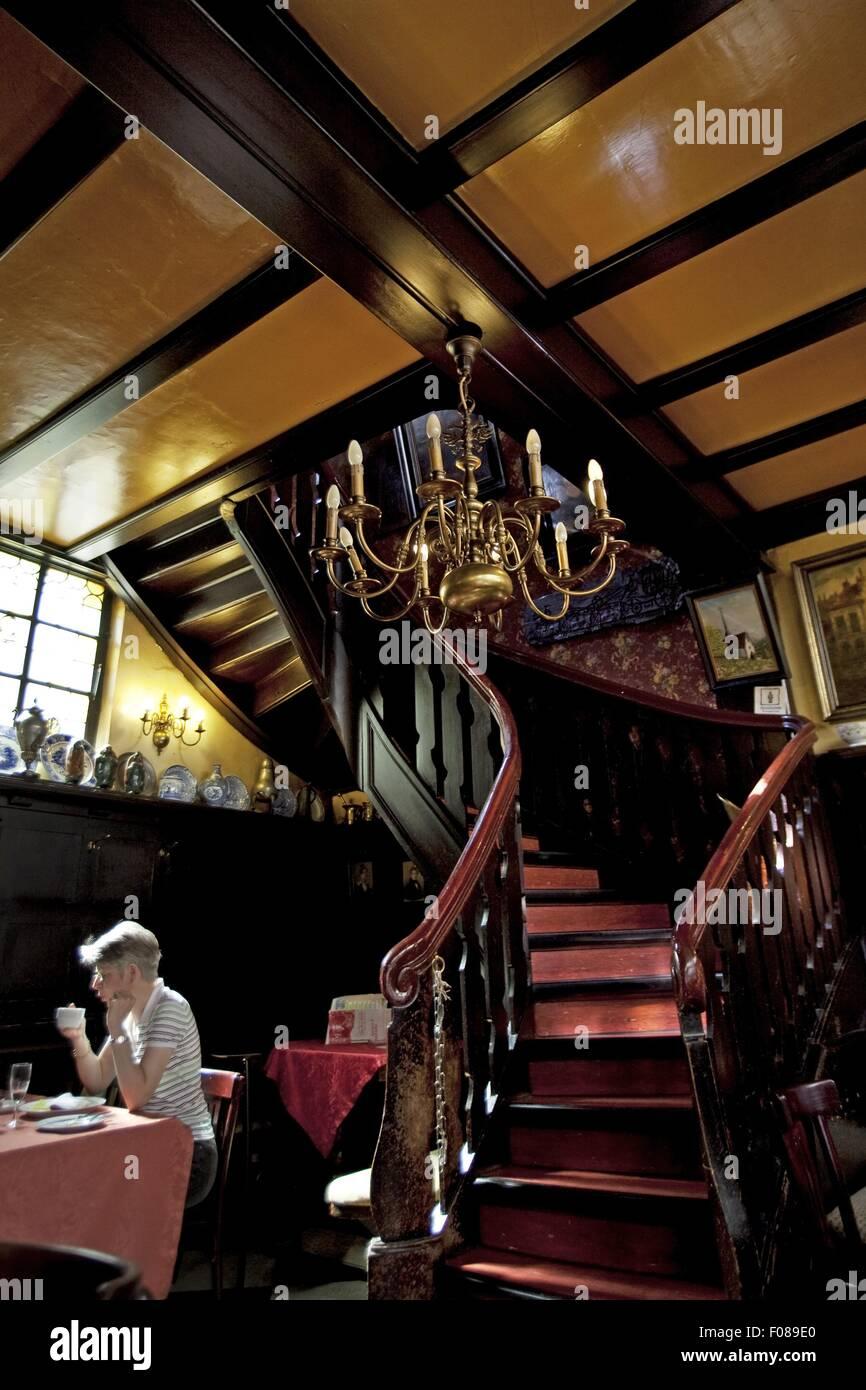Ambiance baroque dans les bars à vin et café Van Den Daele, Aix-la-Chapelle, Allemagne Photo Stock