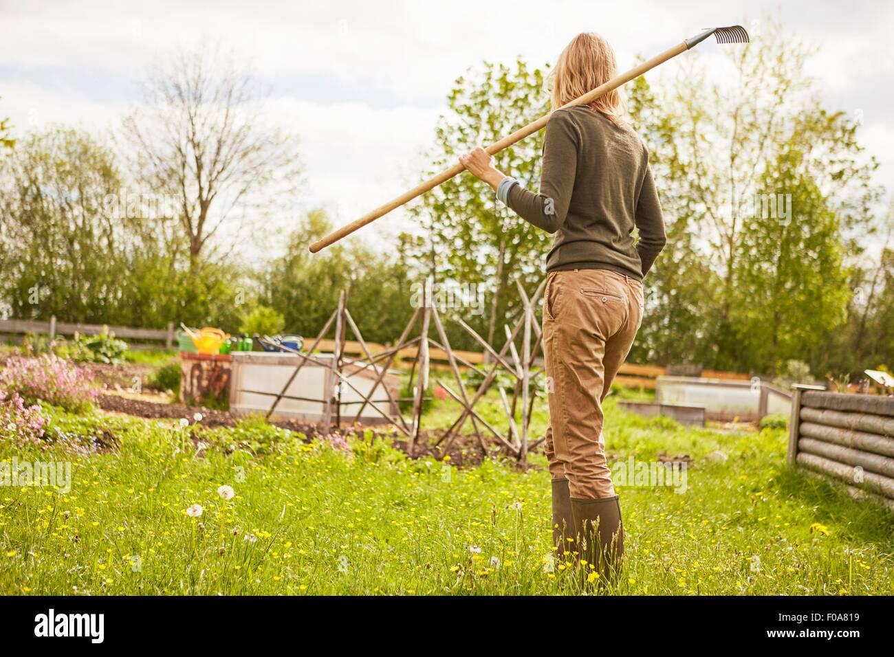 Femme mature, en plein air, jardinage, exerçant son râteau, vue arrière Photo Stock
