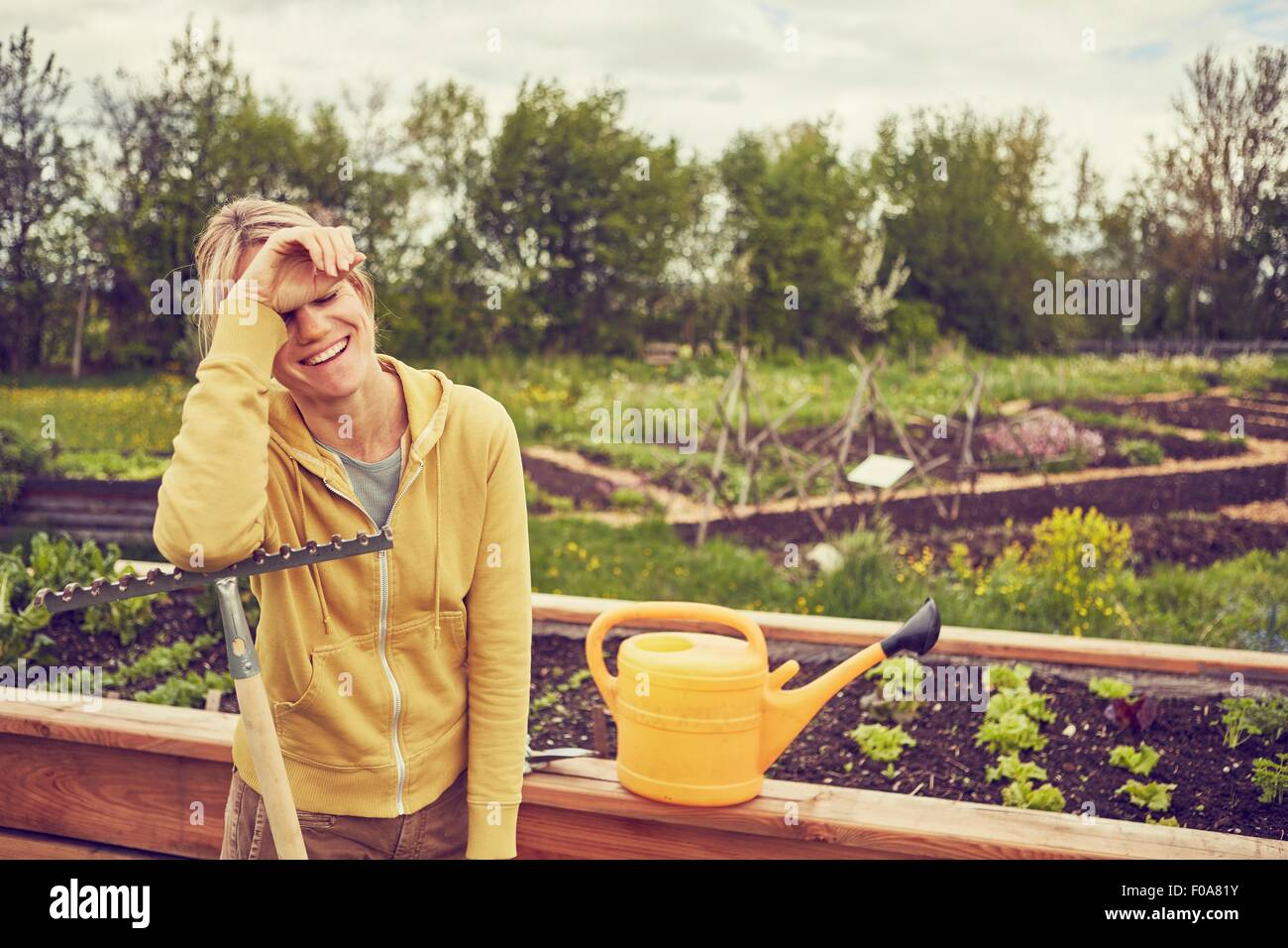 Femme mature, jardinage, appuyé sur le râteau, rire Photo Stock